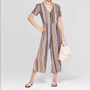 Striped Deep V-Neck Button Front Cropped Jumpsuit